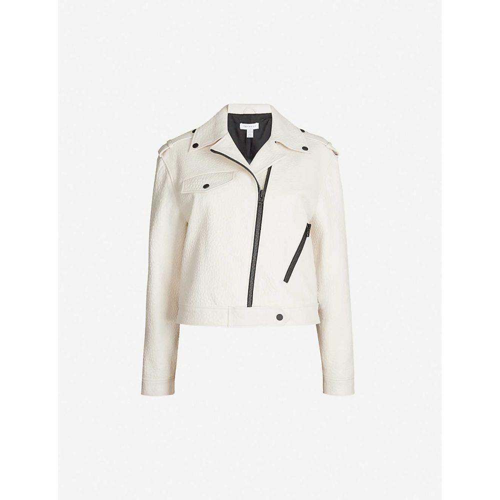 トップショップ TOPSHOP レディース アウター レザージャケット【Ultimate asymmetric leather biker jacket】White