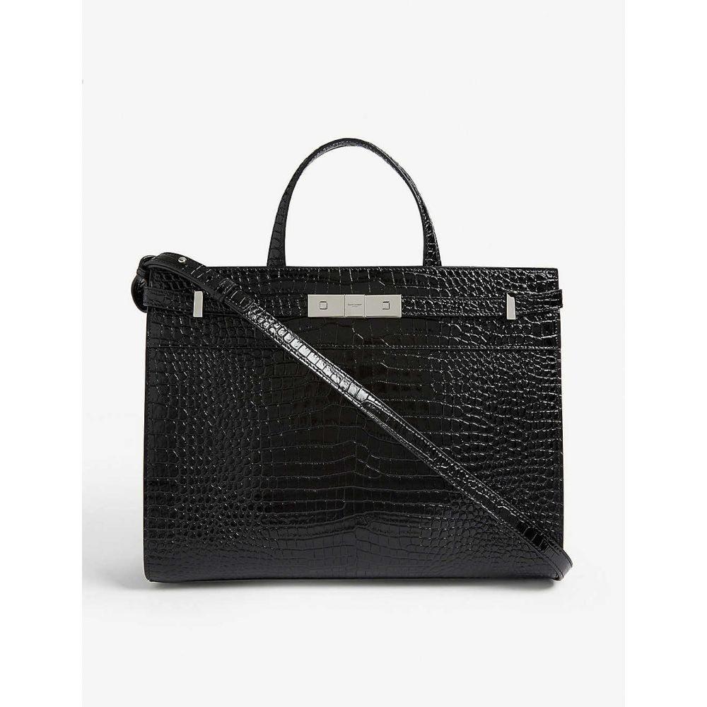イヴ サンローラン SAINT LAURENT レディース バッグ トートバッグ【Manhattan croc-embossed leather tote】Black silver