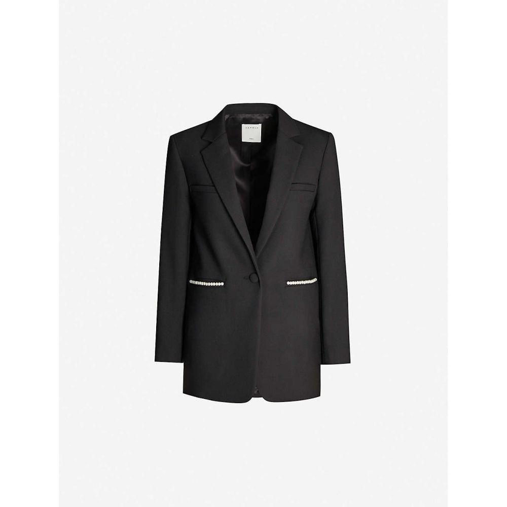 サンドロ SANDRO レディース アウター アウター スーツ SANDRO・ジャケット サンドロ【Embellished-trim woven blazer】Black, 財布屋:1e0475a8 --- officewill.xsrv.jp