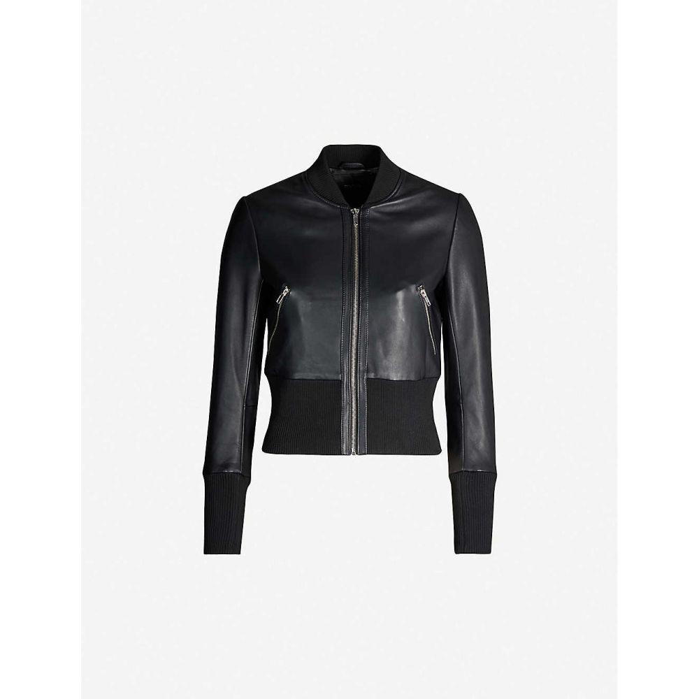 マージュ MAJE レディース アウター レザージャケット【Blotine leather bomber jacket】Black