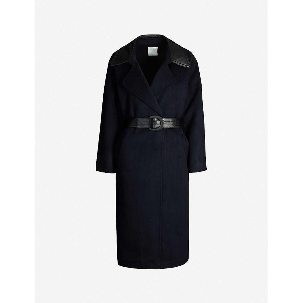 サンドロ SANDRO レディース アウター コート【Belted wool-blend coat】Navy blue