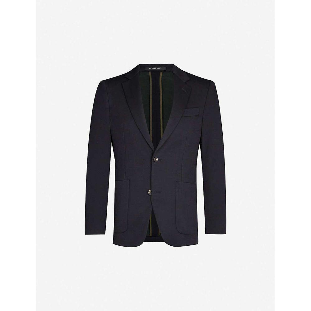 リチャード ジェームス RICHARD JAMES メンズ スーツ・ジャケット アウター【spirit regular-fit wool and silk-blend blazer】Navy green
