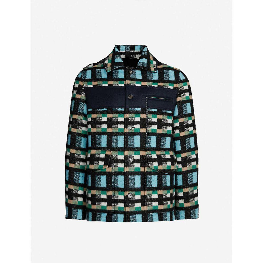ケンゾー KENZO メンズ ジャケット アウター【checked cotton and wool-blend jacket】Cyan