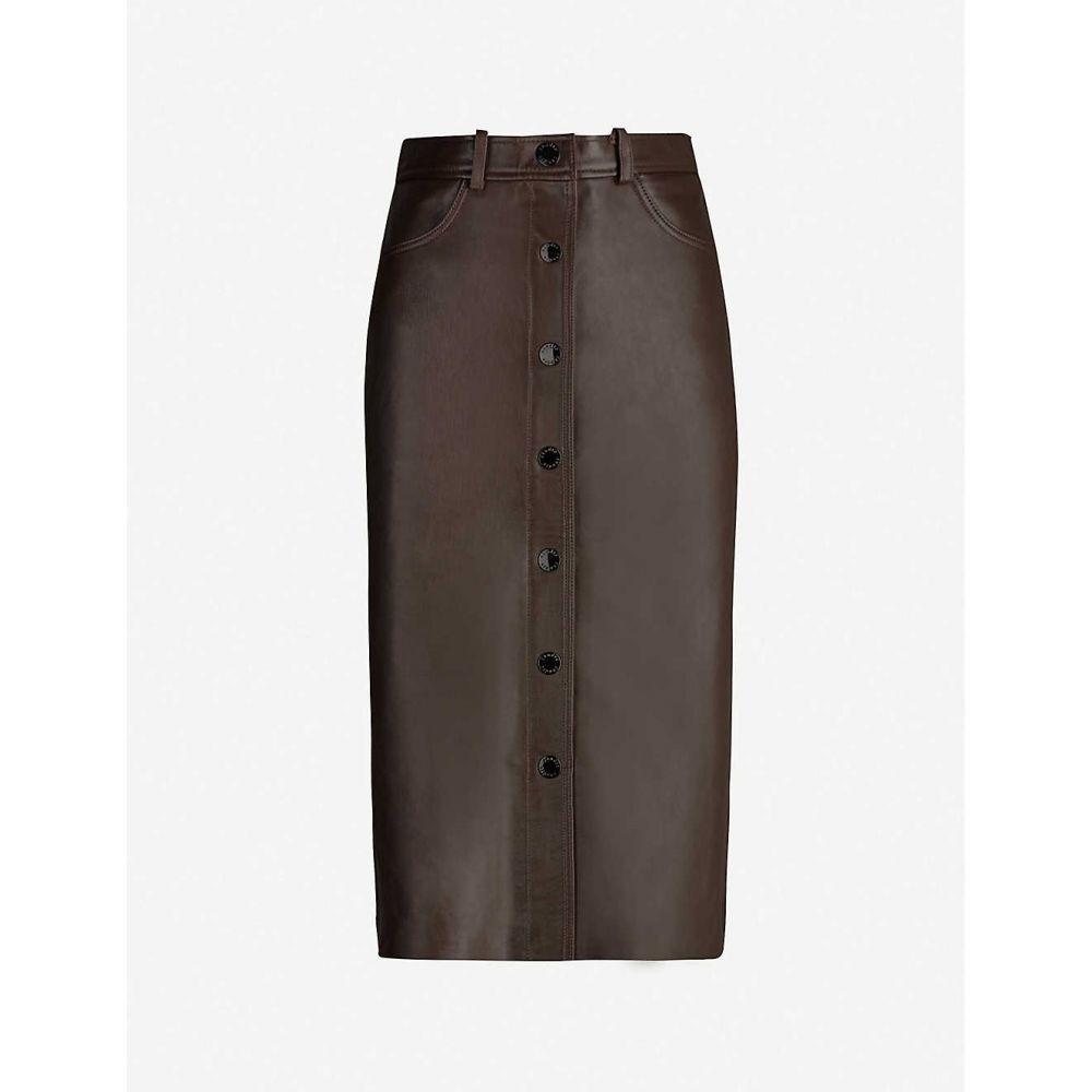 サンドロ SANDRO レディース ひざ丈スカート スカート【buttoned leather midi skirt】Brown