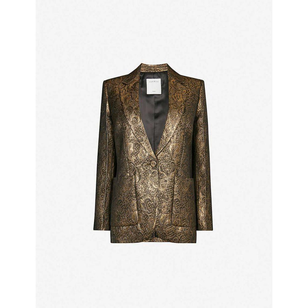 サンドロ SANDRO レディース スーツ・ジャケット アウター【metallic woven jacquard blazer】Gold