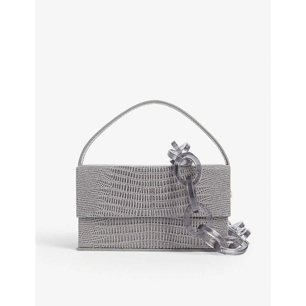ラフシャー L'AFSHAR レディース ショルダーバッグ バッグ【ida croc-embossed leather bag】Grey