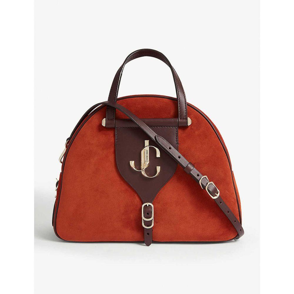 ジミー チュウ JIMMY CHOO レディース ボウリング ボーリングバッグ バッグ【varenne suede and leather bowling bag】Rust/aubergine