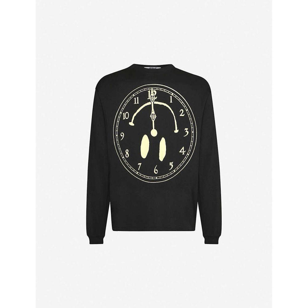 アウグ AWGE メンズ 長袖Tシャツ トップス【rave time long-sleeved cotton-jersey top】Black