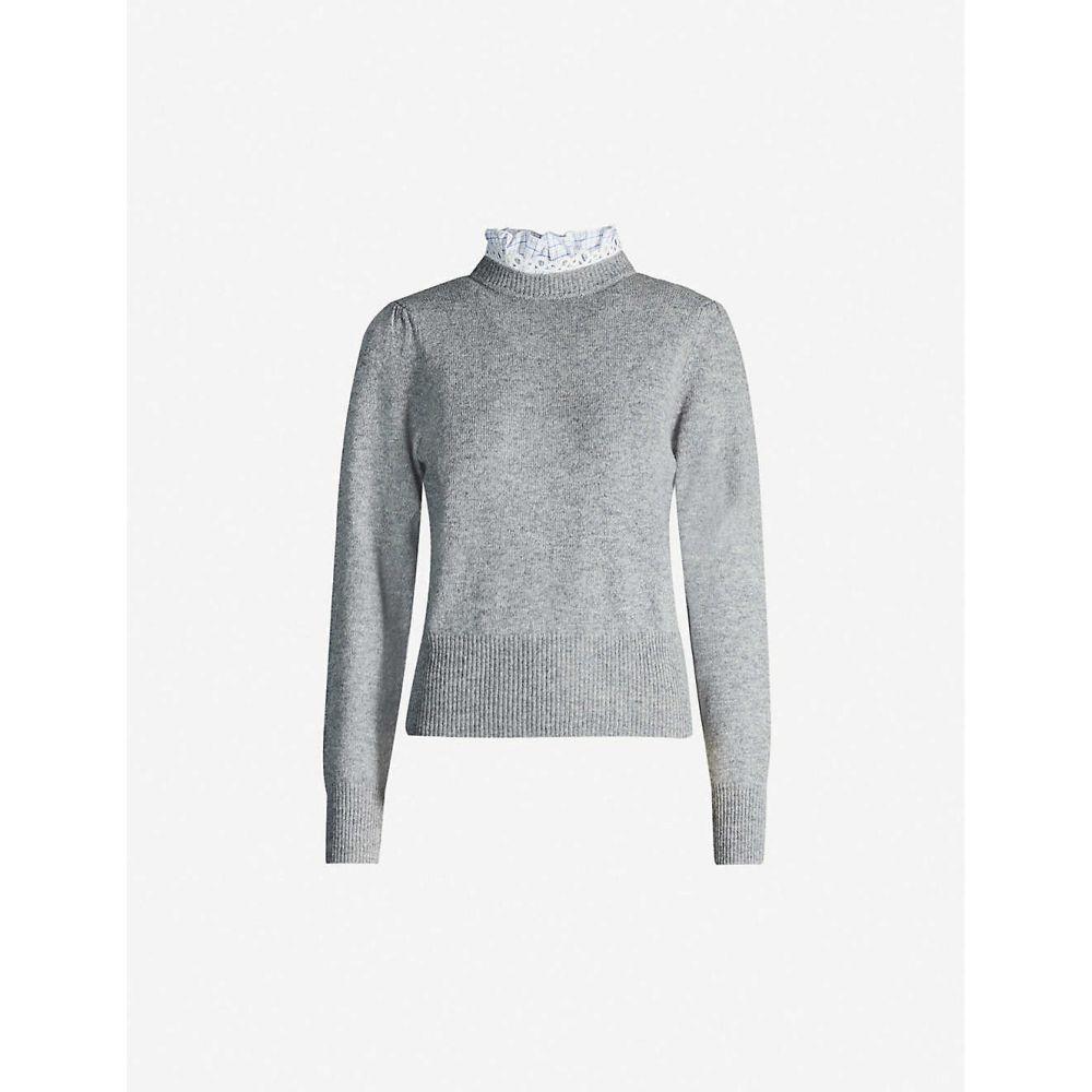 サンドロ SANDRO レディース ニット・セーター トップス【ruffle-trimmed wool-blend jumper】Light grey