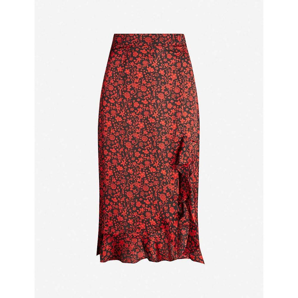 マージュ MAJE レディース ひざ丈スカート スカート【javie floral-print ruffle-trim satin-crepe midi skirt】Red