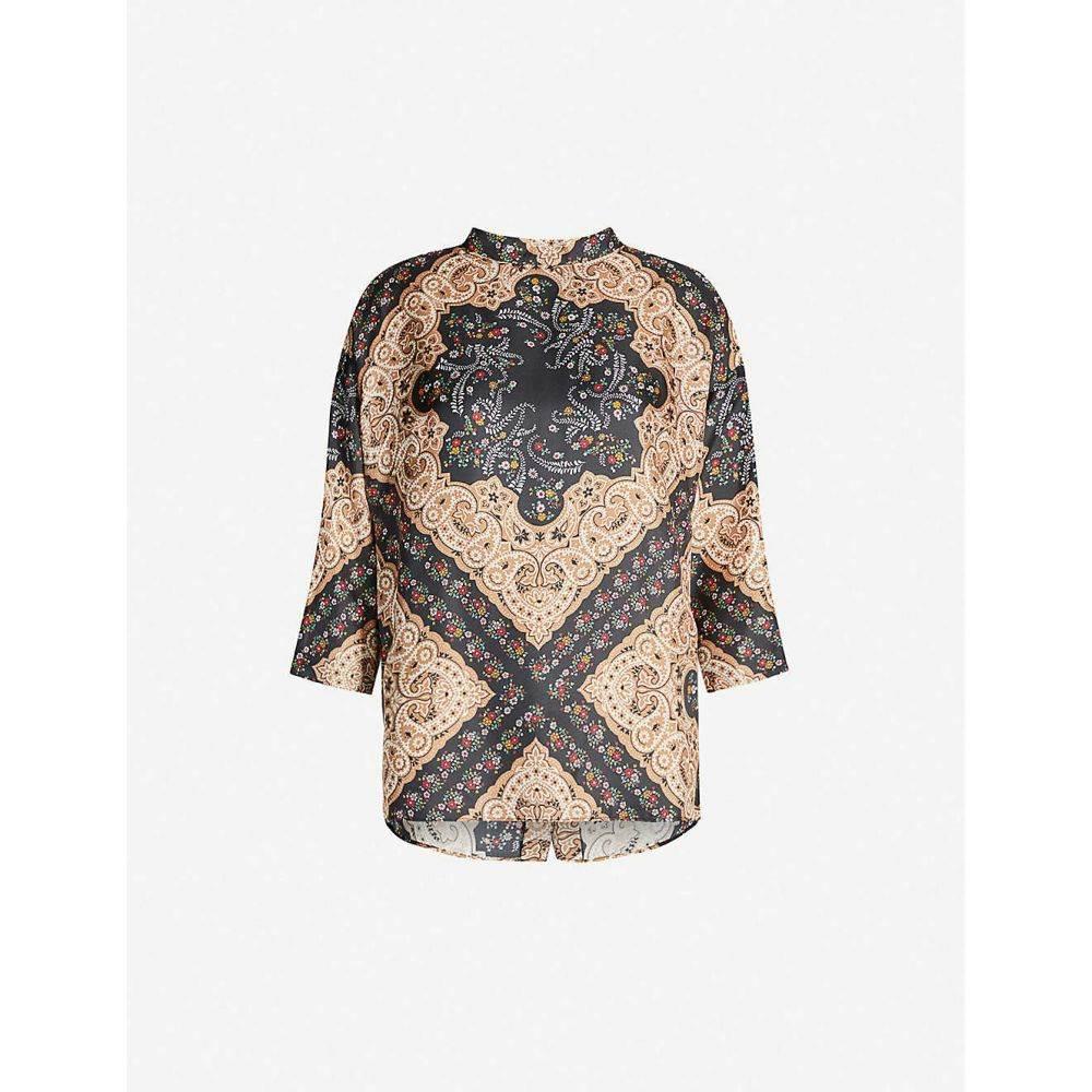 サンドロ SANDRO レディース ブラウス・シャツ トップス【paisley and floral-print silk-satin blouse】Black