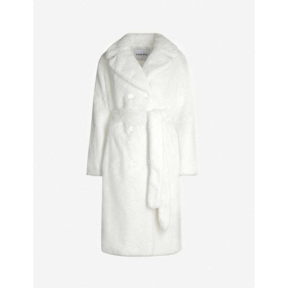 スタンド STAND レディース コート ダブルブレストコート アウター【faustine double-breasted faux-fur coat】White