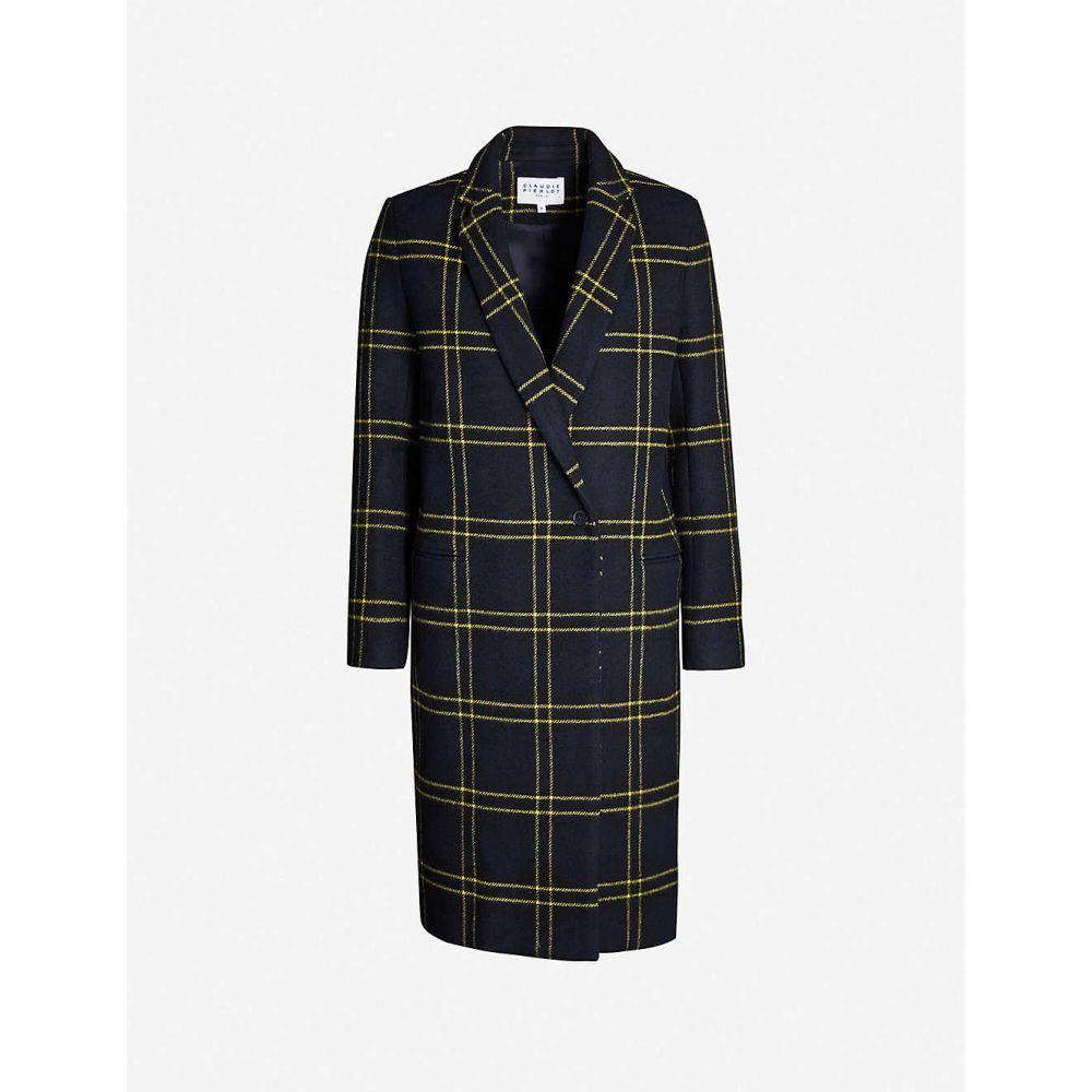 クローディ ピエルロ CLAUDIE PIERLOT レディース コート アウター【checked wool-blend coat】Navy