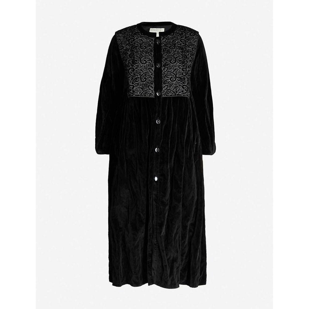 レンリ スー RENLI SU レディース コート アウター【embroidered velvet coat】Black