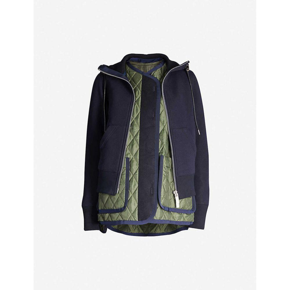 サカイ SACAI レディース ジャケット アウター【layered cotton-blend and satin jacket】Navy khaki