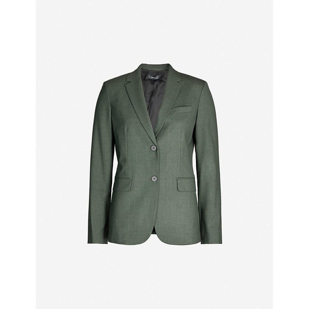 セオリー THEORY レディース スーツ・ジャケット アウター【single-breasted wool-blend blazer】Hunter green melange