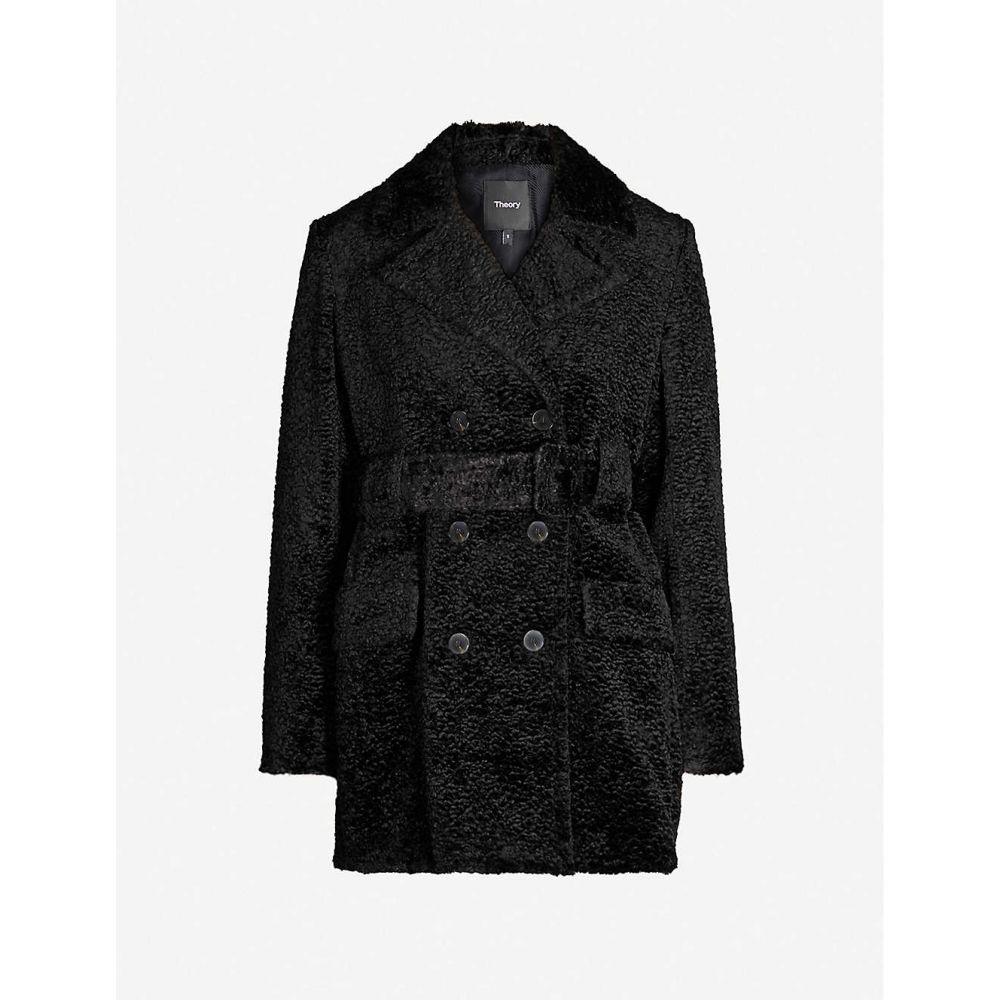 セオリー THEORY レディース コート ダブルブレストコート アウター【double-breasted belted faux-fur coat】Black