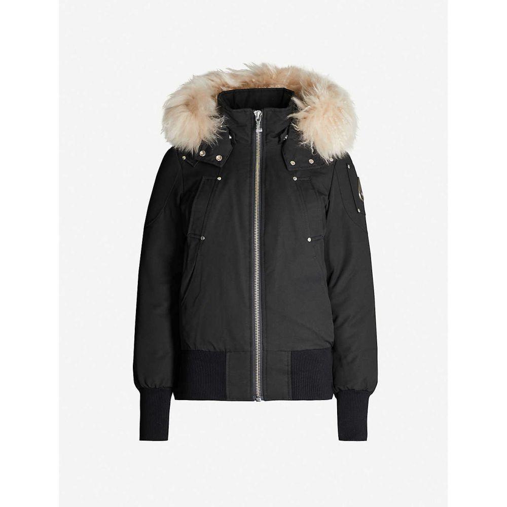 ムースナックル MOOSE KNUCKLES レディース ジャケット アウター【debbie faux fur-trimmed cotton-blend twill-down hooded jacket】Black w shearling