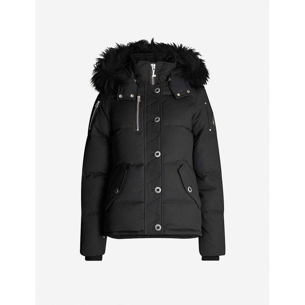 ムースナックル MOOSE KNUCKLES レディース ダウン・中綿ジャケット アウター【3q faux fur-trimmed cotton-blend down hooded jacket】Black w black shearling