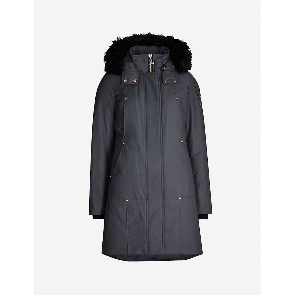 ムースナックル MOOSE KNUCKLES レディース コート アウター【stirling faux fur-trimmed cotton-blend twill-down coat】Granite w black shearlin