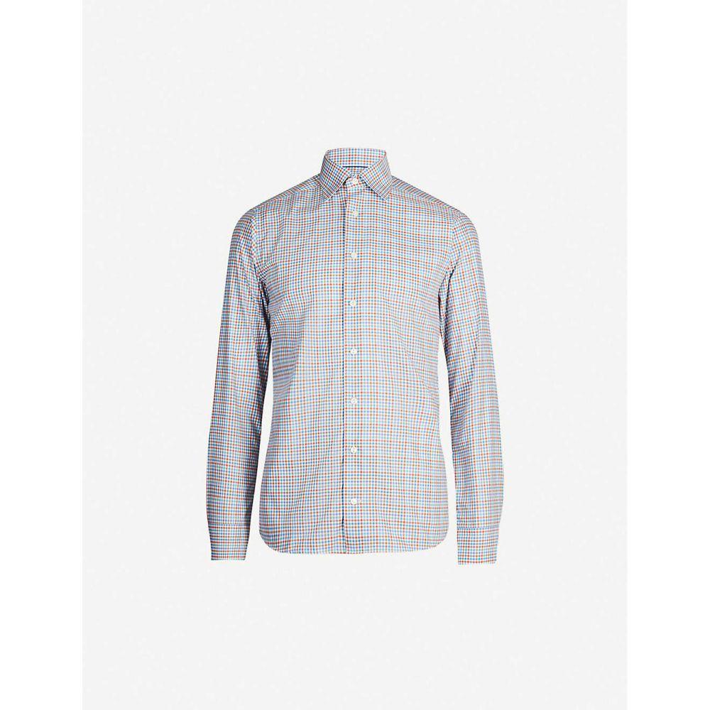 イートン ETON メンズ シャツ トップス【Slim-fit check cotton-twill shirt】Green