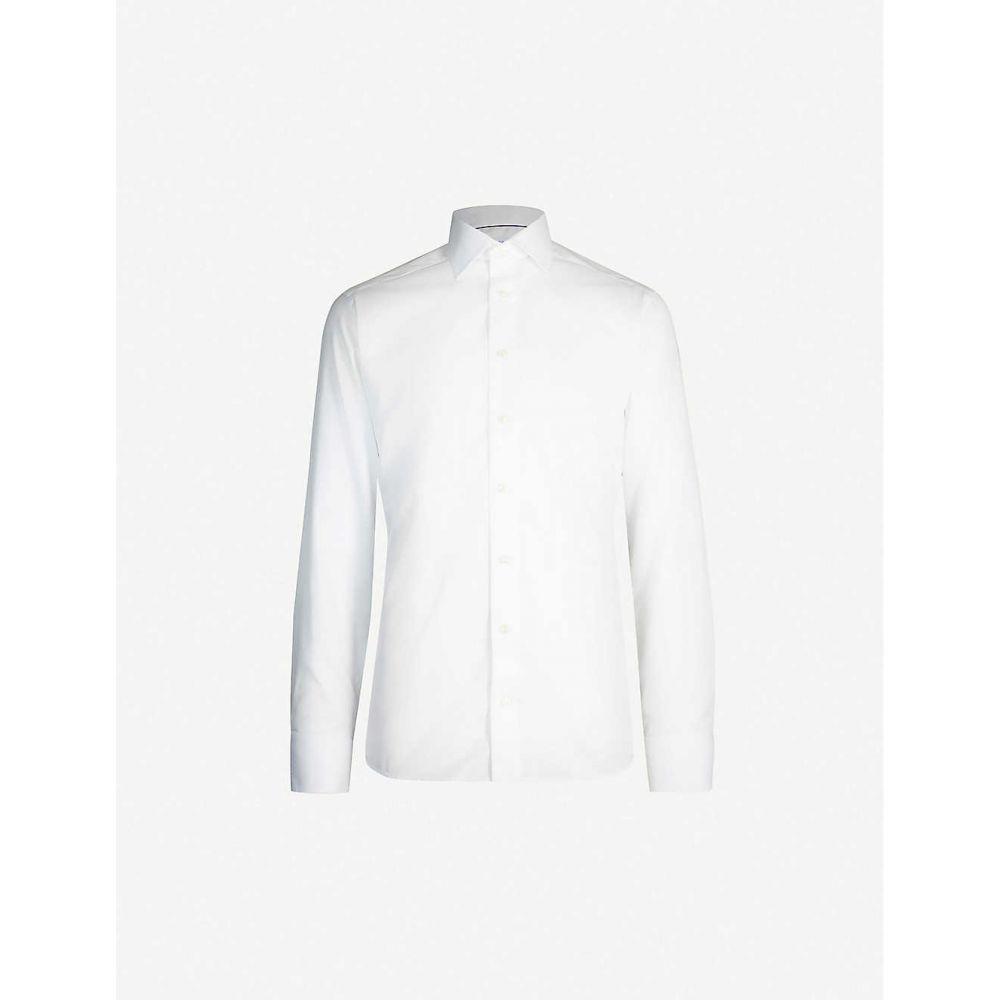 イートン ETON メンズ シャツ トップス【Slim-fit cotton and linen-blend shirt】White