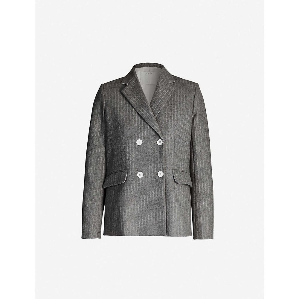 サンドロ SANDRO レディース スーツ・ジャケット ダブルブレストジャケット アウター【Double-breasted wool jacket】GREY