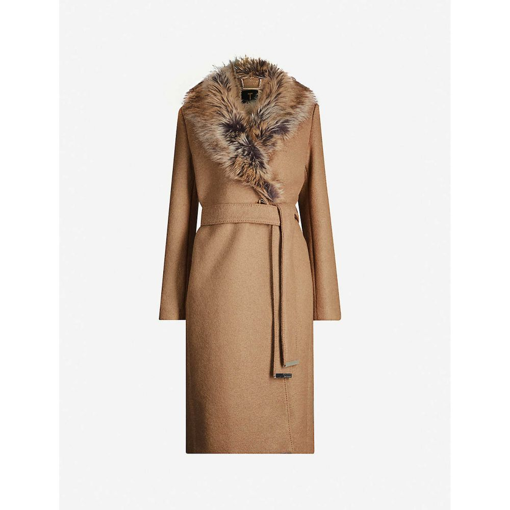 テッドベーカー TED BAKER レディース コート アウター【Corinna faux-fur trim wool-blend coat】TAN