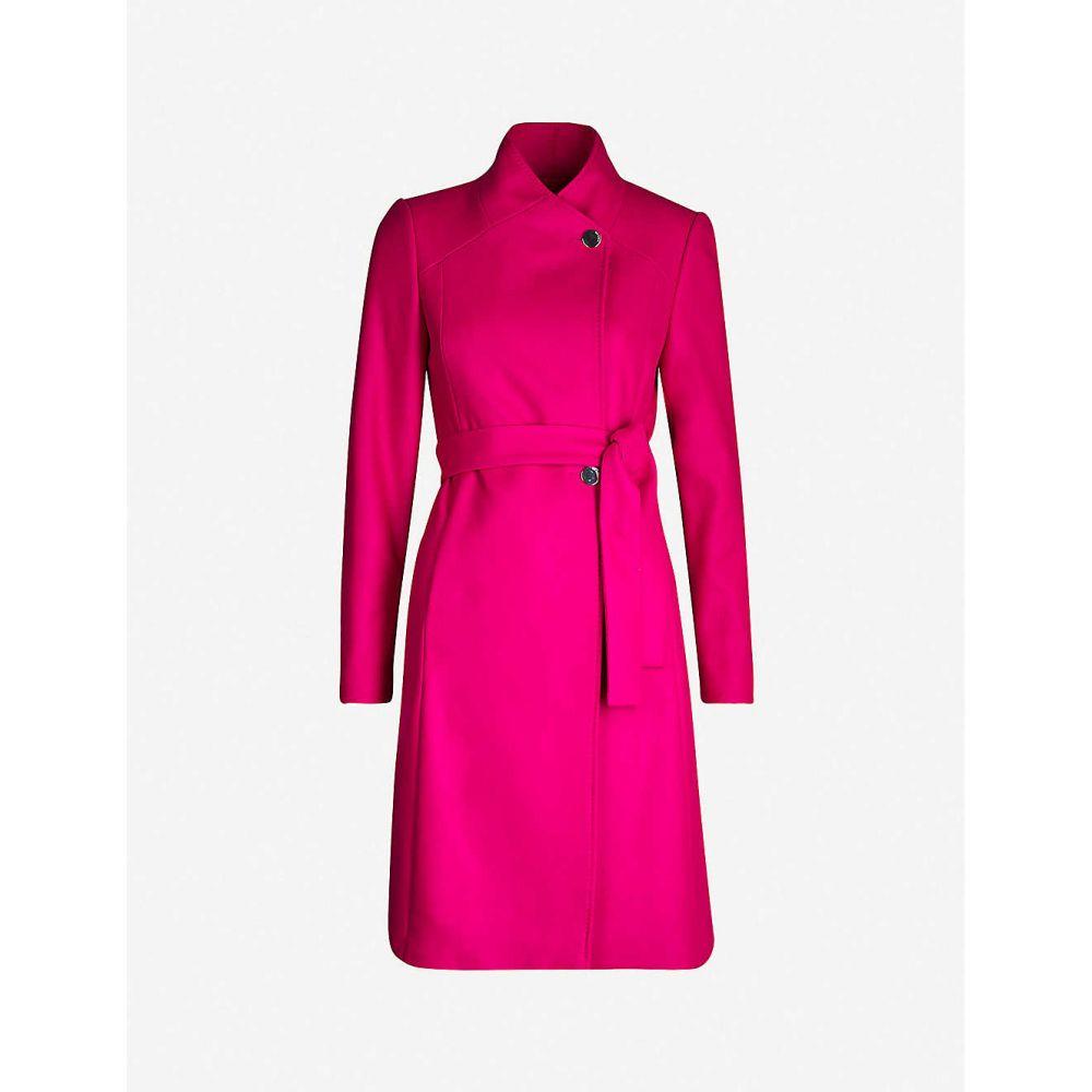 テッドベーカー TED BAKER レディース コート ラップコート アウター【Skyyler belted wool-blend wrap coat】Brt-pink