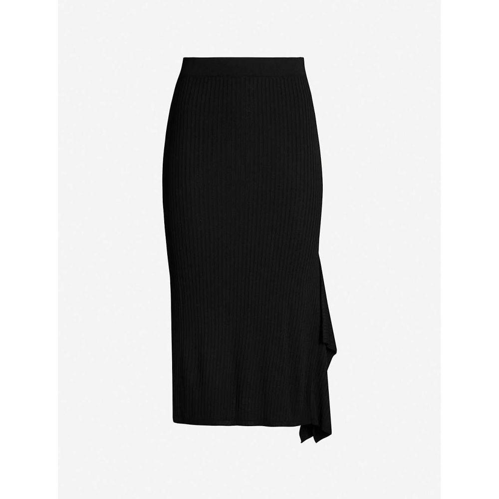 マックスマーラ MAX MARA レディース スカート 【Fano asymmetric-hem ribbed-knit skirt】Black