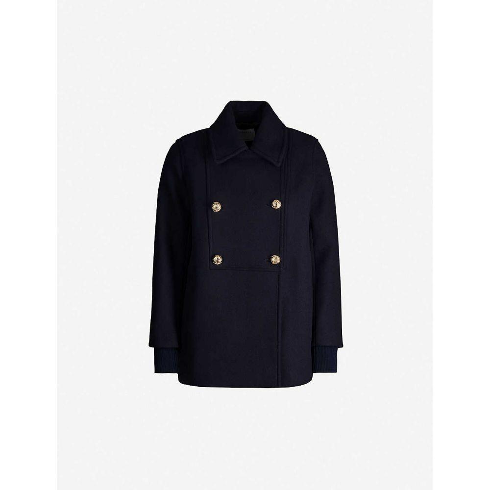 サンドロ SANDRO レディース コート ダブルブレストコート アウター【Faneli double-breasted wool coat】NAVY BLUE
