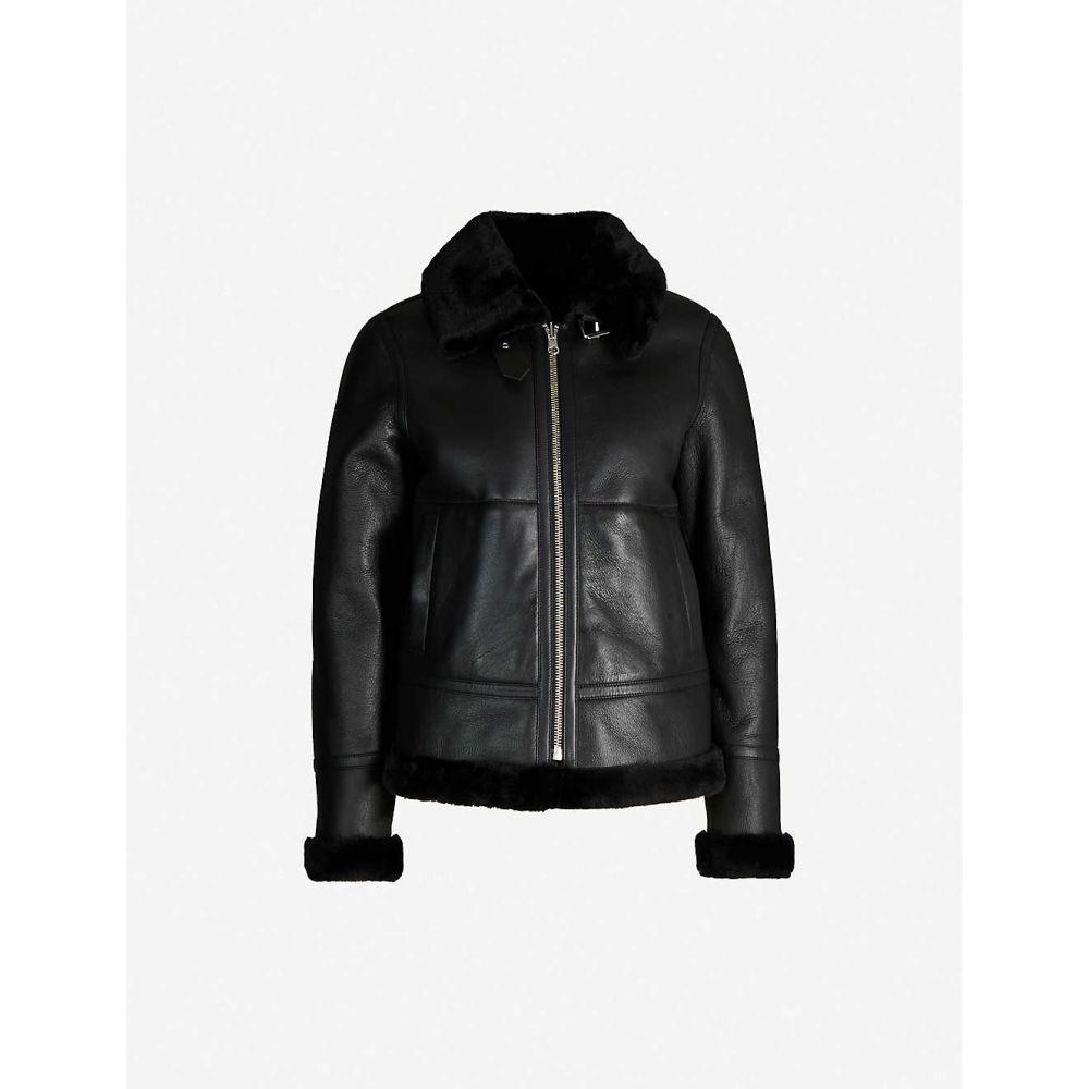 リース REISS レディース レザージャケット アビエイター アウター【Belle shearling-lined leather aviator jacket】BLACK