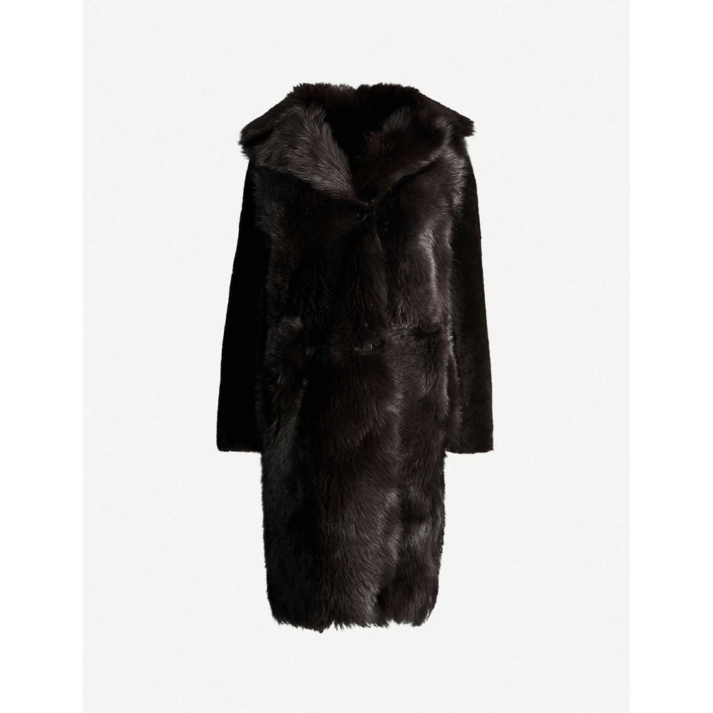 リース REISS レディース コート ファーコート アウター【Darcy reversible fur coat】CHOCOLATE