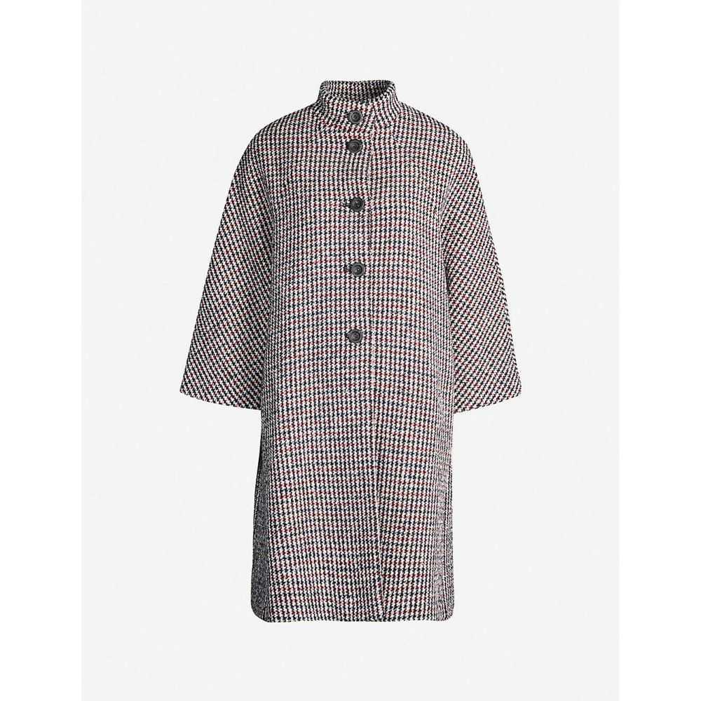 マージュ MAJE レディース コート アウター【Garfield geometric-print wool-blend coat】MARINE ROUGE
