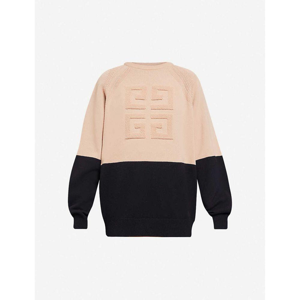 ジバンシー GIVENCHY レディース ニット・セーター トップス【Colour-blocked logo-embroidered cashmere-blend jumper】BLACK BEIGE