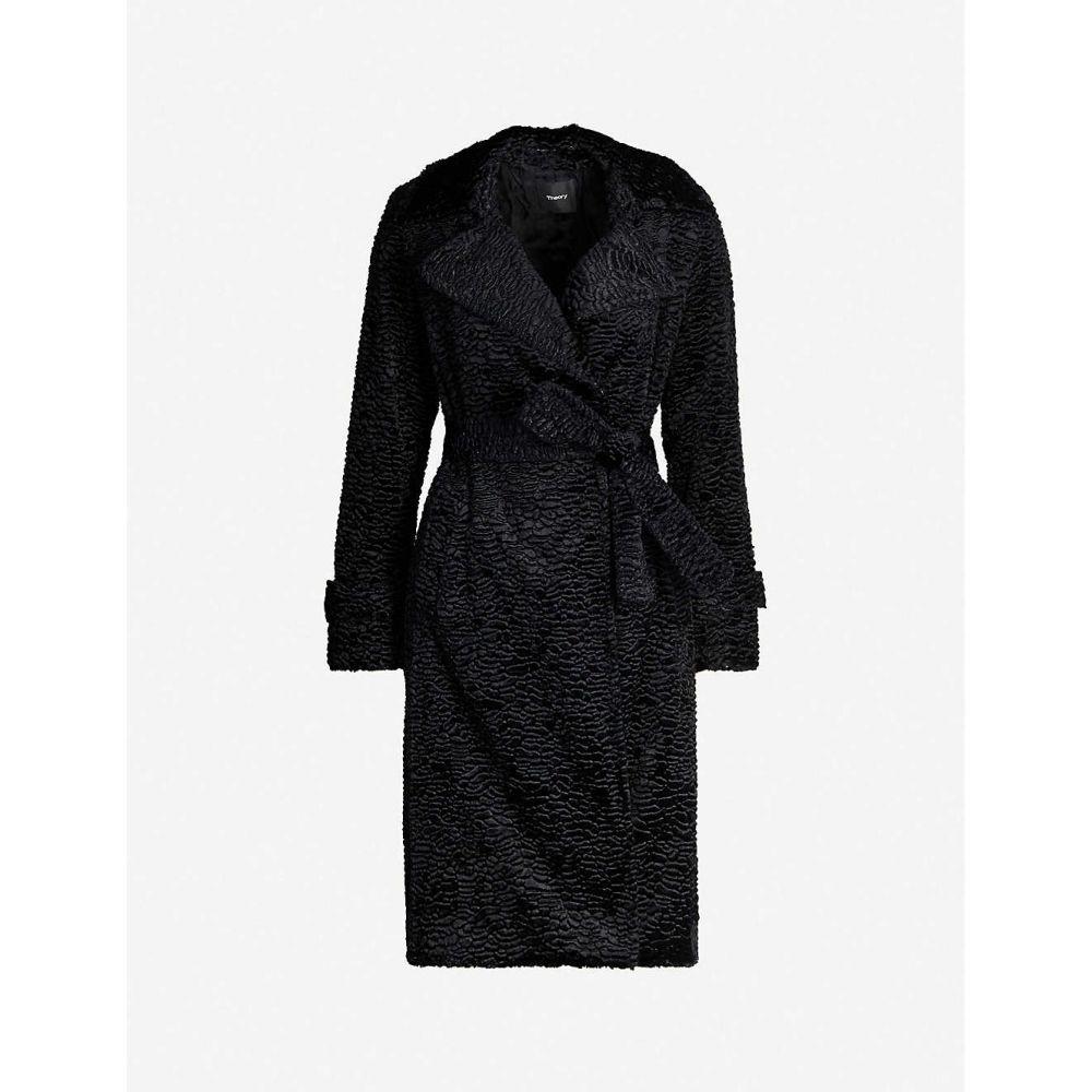 セオリー THEORY レディース レザージャケット シアリング アウター【Oaklane shearling and goat leather coat】BLACK