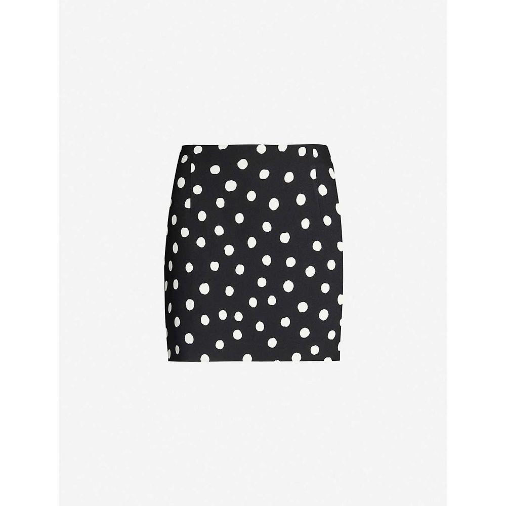 イヴ サンローラン SAINT LAURENT レディース ミニスカート スカート【Polka-dot crepe mini skirt】Noir craie
