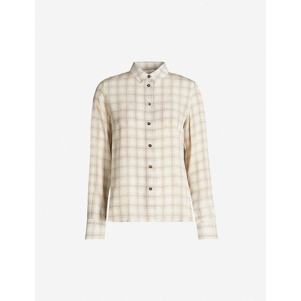 ザ ロウ THE ROW レディース ブラウス・シャツ トップス【Jonas geometric-pattern silk shirt】Brown/off white