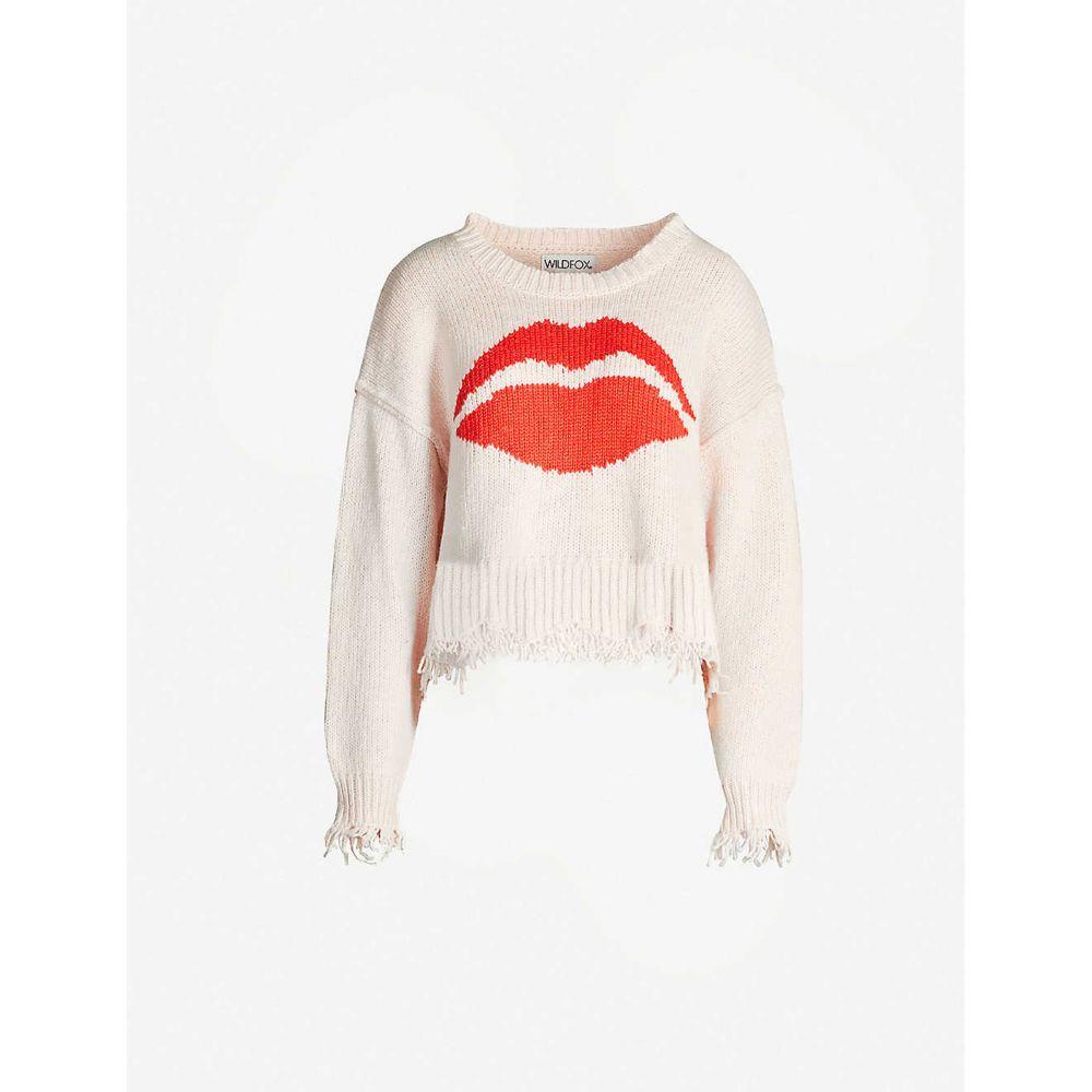 ワイルドフォックス WILDFOX レディース ニット・セーター トップス【Intarsia cotton-knit jumper】Seashell pink