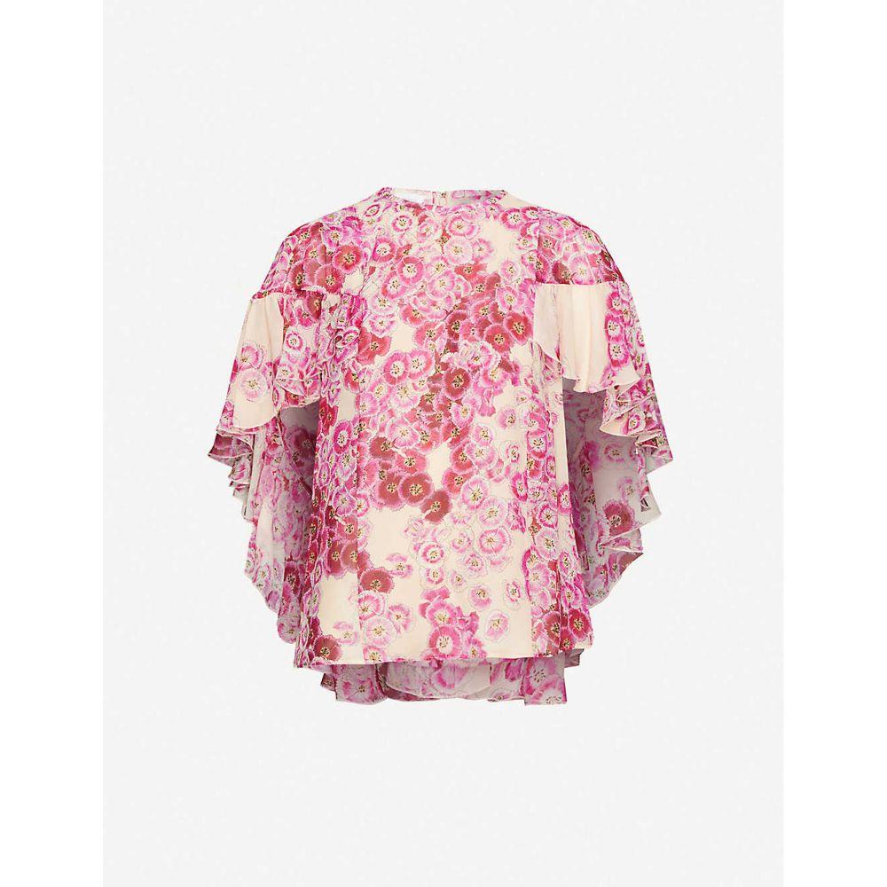 ジャンバティスタ バリ GIAMBATTISTA VALLI レディース トップス 【Floral-pattern silk-crepe top】Blush-raspberry