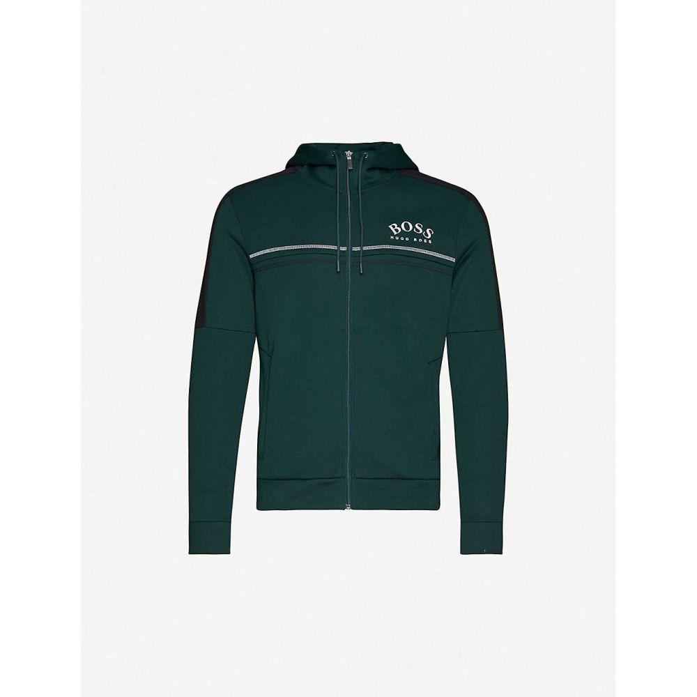 ヒューゴ ボス BOSS メンズ パーカー トップス【Contrast panel cotton-blend jersey hoody】Open Green