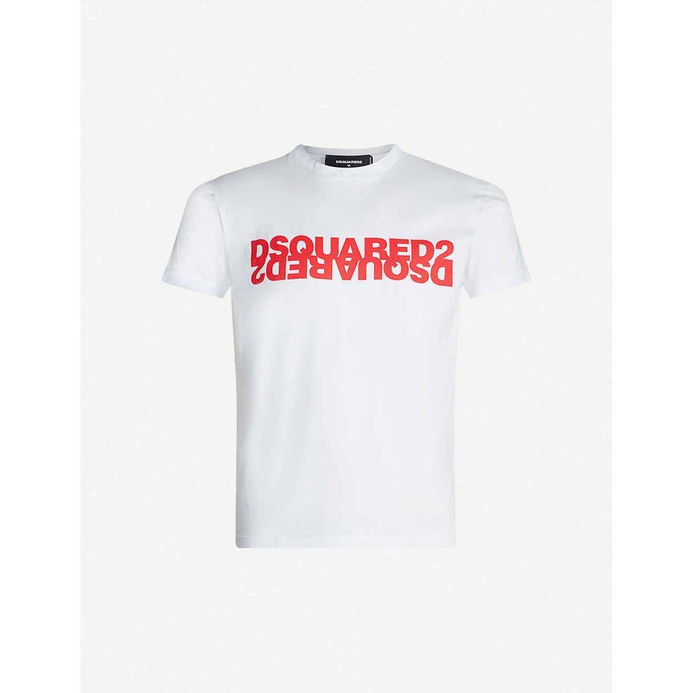 ディースクエアード DSQUARED2 メンズ Tシャツ トップス【Logo-print cotton-jersey T-shirt】WHITE RED