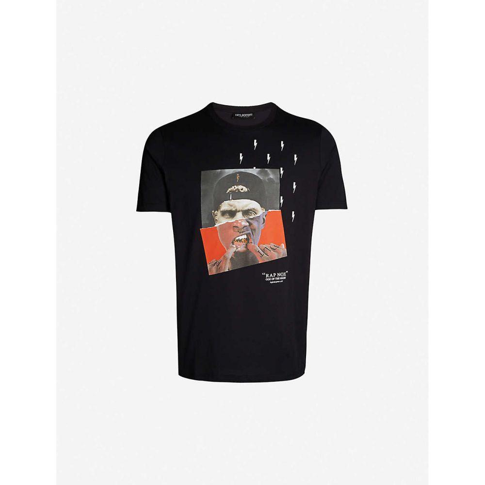 ニール バレット NEIL BARRETT メンズ Tシャツ トップス【Rap Nox-print cotton-jersey T-shirt】BLACK RED