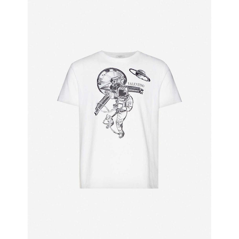 ヴァレンティノ VALENTINO メンズ Tシャツ トップス【Graphic-print crewneck cotton-jersey T-shirt】White