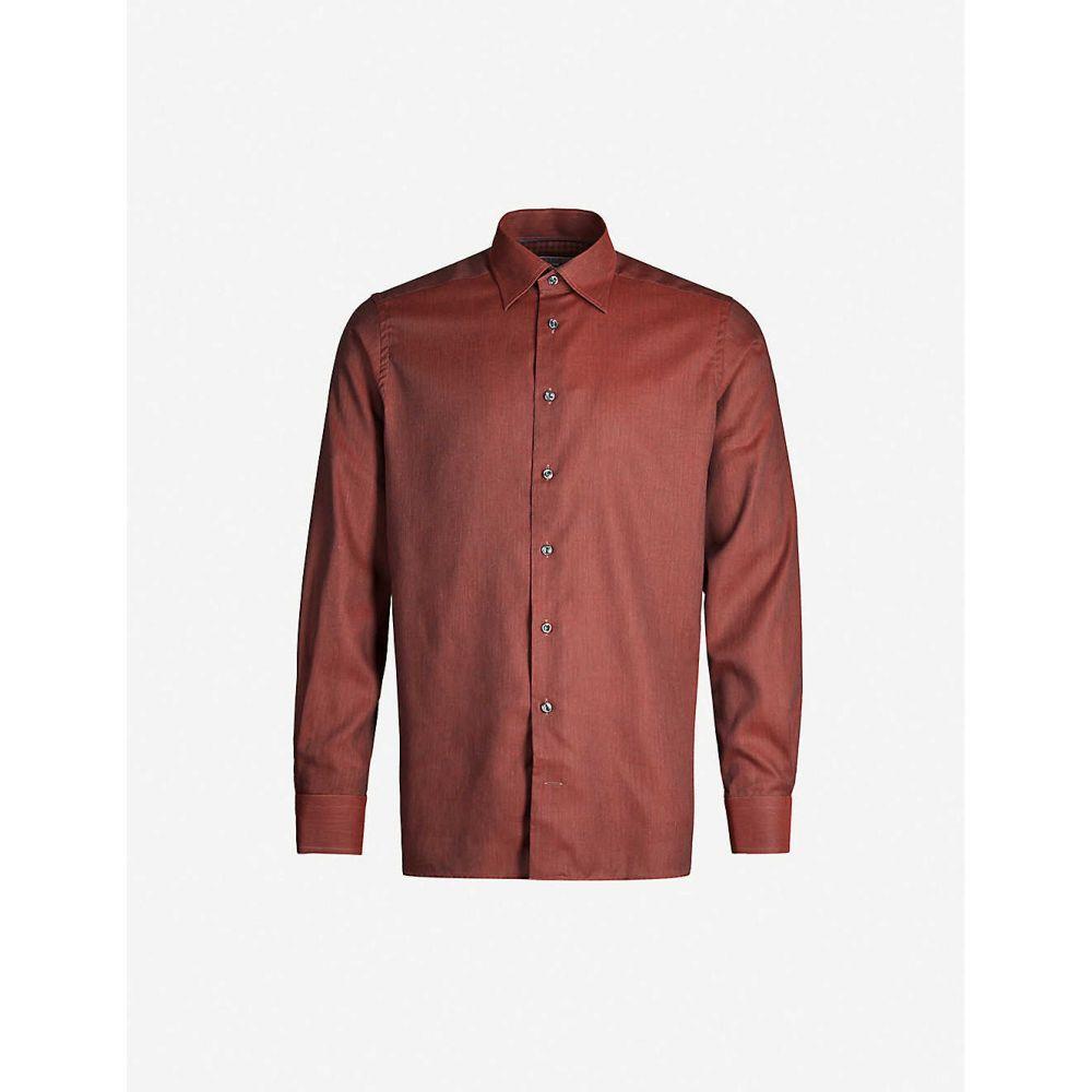 イートン ETON メンズ シャツ トップス【Contemporary-fit herringbone cotton-twill shirt】Pink/Red