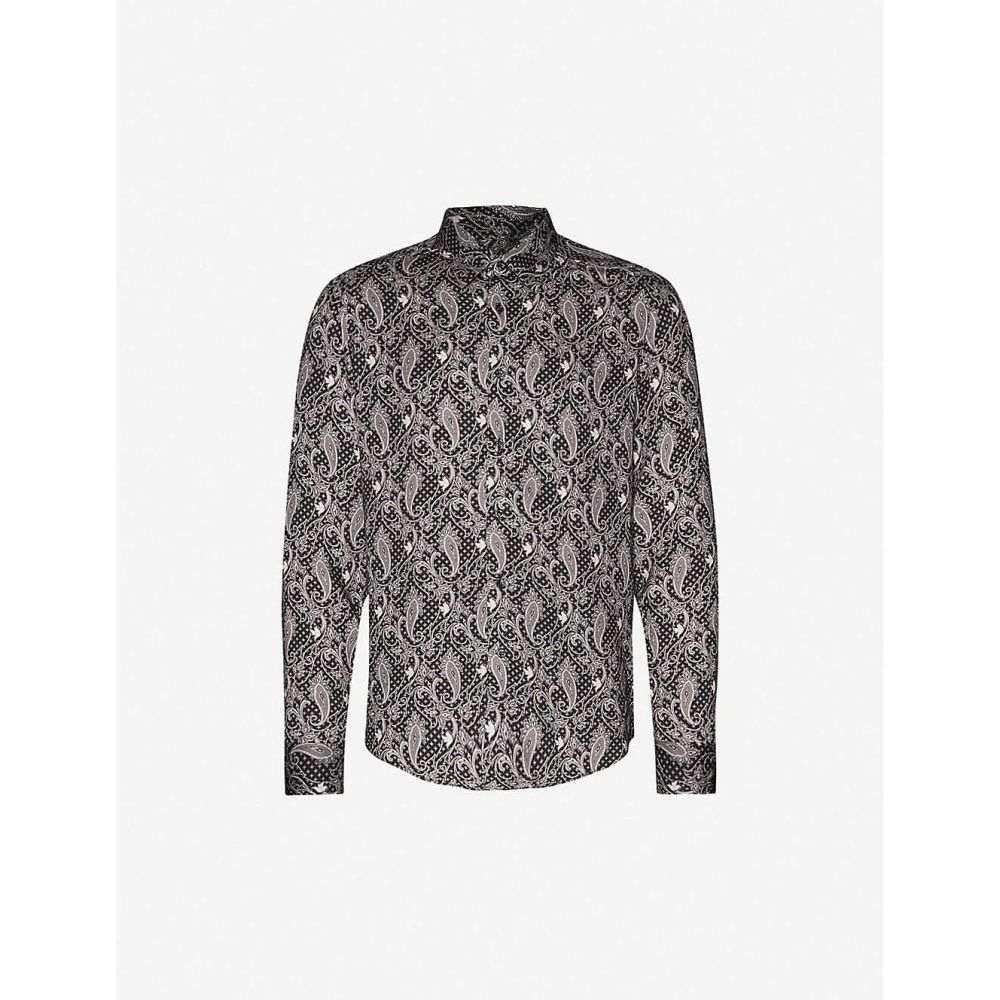 リース REISS メンズ シャツ トップス【Tace paisley-pattern stretch-jersey shirt】BLACK