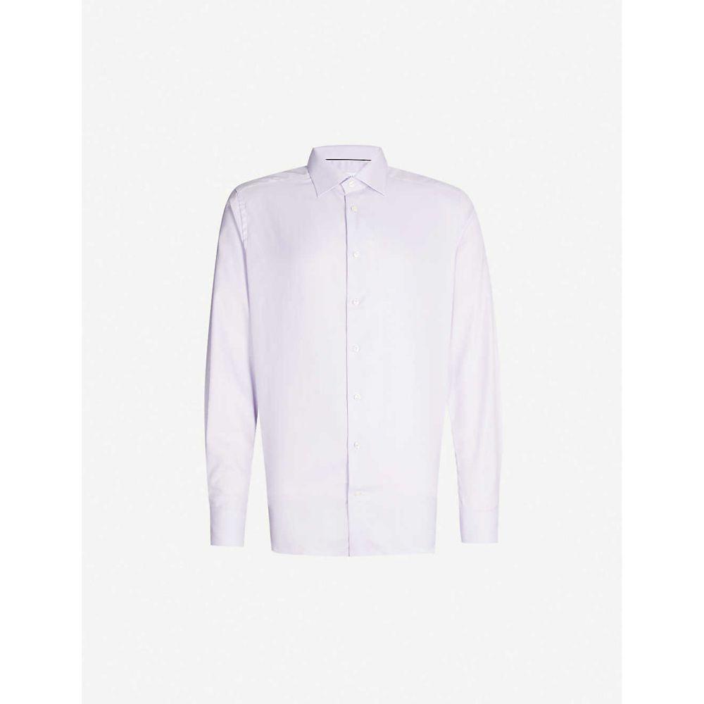 イートン ETON メンズ シャツ トップス【Herringbone slim-fit cotton shirt】Purple