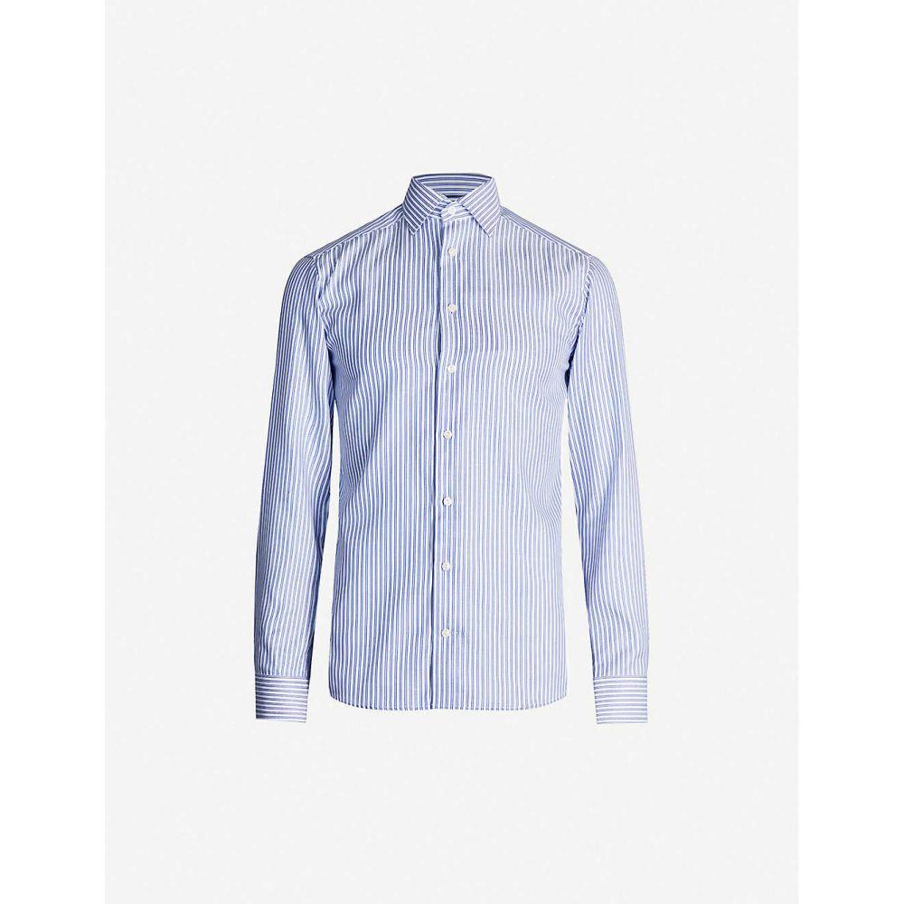 イートン ETON メンズ シャツ トップス【Striped slim-fit cotton-blend shirt】Blue