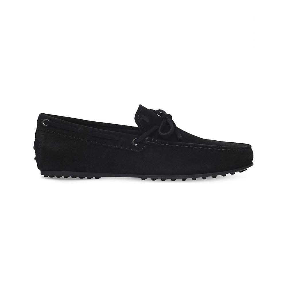 トッズ TODS メンズ ドライビングシューズ ドライビングシューズ シューズ・靴【City tie-detail suede driving shoes】BLACK