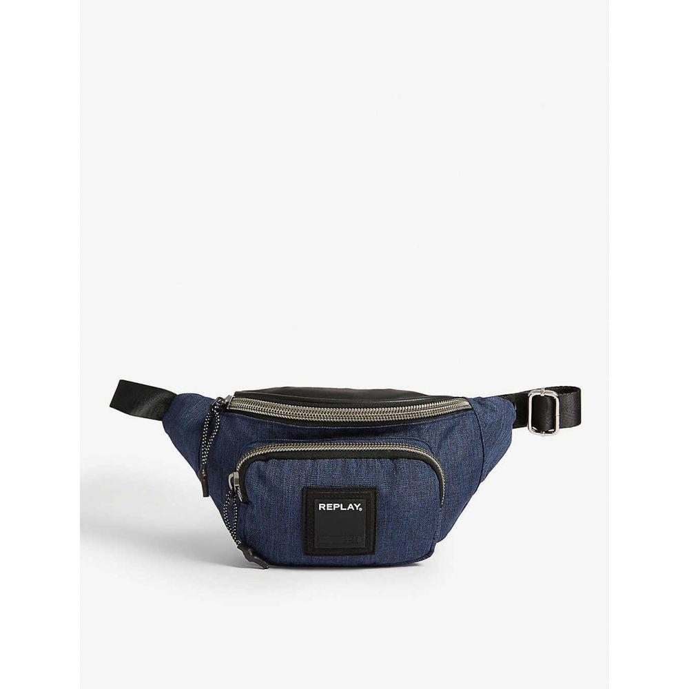 リプレイ REPLAY メンズ ボディバッグ・ウエストポーチ バッグ【Rubber logo canvas bum bag】Navy/black
